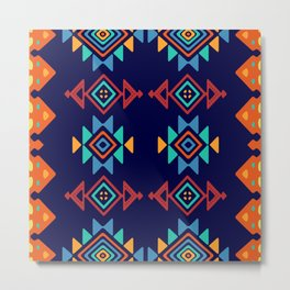 Tribal shapes on a blue background Metal Print