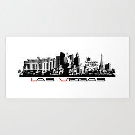 Las Vegas skyline black Art Print