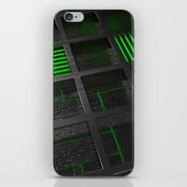Futuristic industrial brushed metal grate with glowing lines iPhone Skin