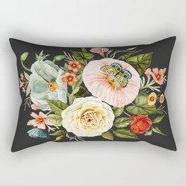 Wildflower and Butterflies Bouquet on Charcoal Black Rectangular Pillow