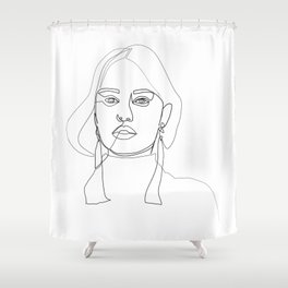 """""""Profile Collection"""" - Woman Wearing Long Earrings Shower Curtain"""