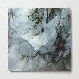 Dark Blue Abstract Painting Metal Print