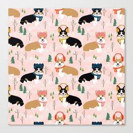Corgi welsh corgi winter snow day holiday dog breed corgis pattern pet friendly dog person must have Canvas Print