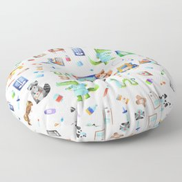 Cute Animal Hospital Watercolor Doctor Pattern Floor Pillow