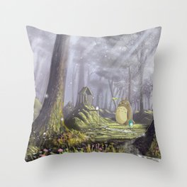 Totoro's Forest Throw Pillow