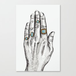 The Bejeweled Artist's Hand Canvas Print