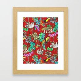 Rainforest Friends - watercolor animals on textured red Framed Art Print
