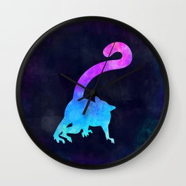 LEMUR IN SPACE // Animal Graphic Art // Watercolor Canvas Painting // Modern Minimal Cute Wall Clock