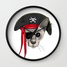 Meow Matey - Fearless Hairless Pirate Cat Wall Clock