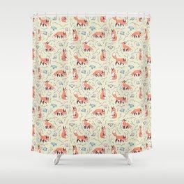 Fox and Bird Pattern Shower Curtain