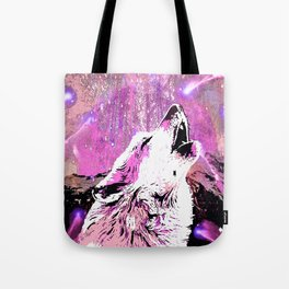 WOLF PINK MOON SHOOTING STARS Tote Bag