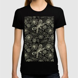 Dragonflies and flowers doodle pink T-shirt