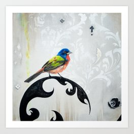 Bird - Painted Bunting Silver Haze Art Print