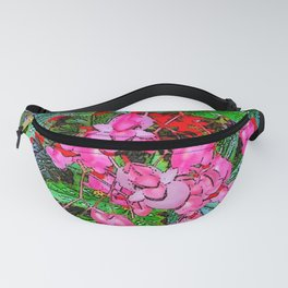 RED ART ANGEL WING PINK BEGONIA FLOWERS Fanny Pack