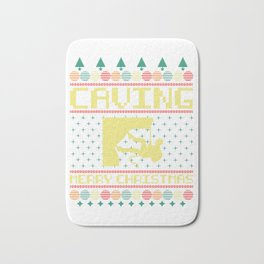 Christmas Ugly Sweater Cave Explorer And Nature Lover Gift Bath Mat