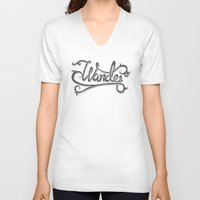 not all who wander V-neck T-shirts featuring Not All Who Wander... by Christine Fleming