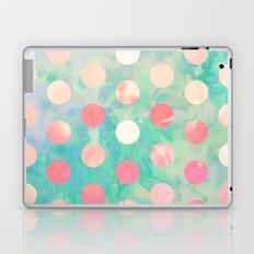 Retro Pink Polka Dots Hipster Turquoise Pattern Laptop & iPad Skin