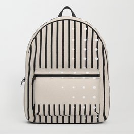 Minimal Geometric Study Beige Backpack