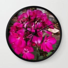 Pink Geranium Wall Clock