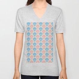 Vintage chic ivory coral blue floral damask pattern Unisex V-Neck