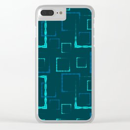 Lead carved squares and frames for an abstract blue background or pattern. Clear iPhone Case