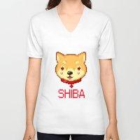 shiba inu V-neck T-shirts featuring SHIBA INU LOVE by giaj