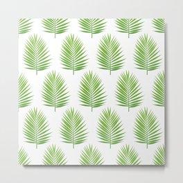 Palm leaf silhouettes seamless pattern. Metal Print