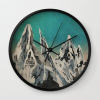 mountains Wall Clocks featuring Mountains by Amelia Senville