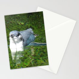 Little Blue Penguin Green Water Stationery Cards