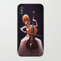 cello iPhone & iPod Cases featuring The Cello Player by Joelle Murray