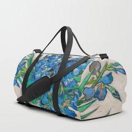 Irises by Vincent van Gogh Oil Painting Still Life Floral Arrangement In Vase Duffle Bag