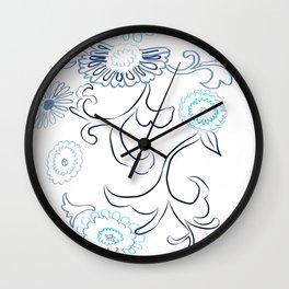 Design of floral décor in indigo palette Wall Clock