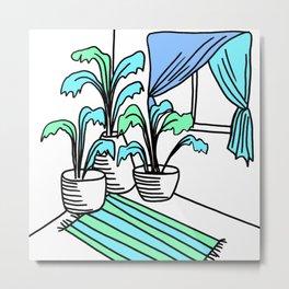 Three Potted Plants in the Corner - Aqua Blue Green Metal Print