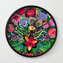 Tropical Flower Arrangement Wall Clock