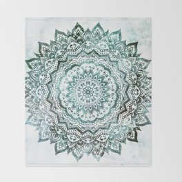 Emerald Jewel Mandala Throw Blanket