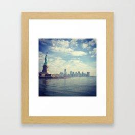 Skyline and Liberty Framed Art Print