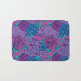 Purple Cats Amongst Flowers Bath Mat