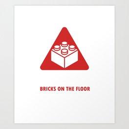 Caution Toy Blocks Brick Games Plaything Building Builders Playtoy Gift Art Print
