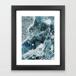 Blue Sea Marble Framed Art Print