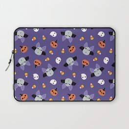 Purple Kawaii Halloween Bat Pattern Laptop Sleeve
