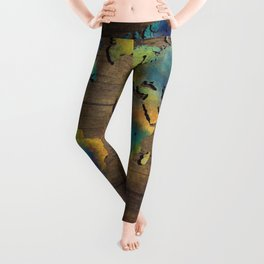 World Map wood Leggings