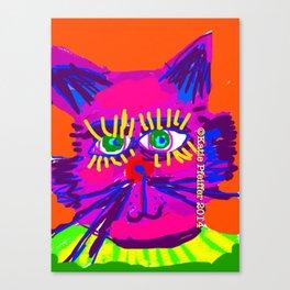 Pop Art Cat Head Canvas Print