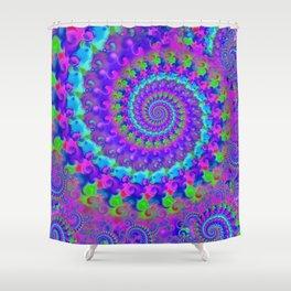 Funky Blue Fractal Pattern Shower Curtain