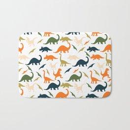 Dinos in Pastel Green and Orange Bath Mat