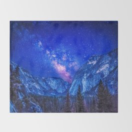 Milky Way Over Mountain Throw Blanket