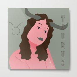 Taurus Zodiac Woman Metal Print