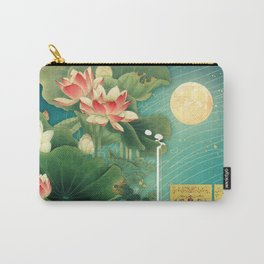 Chinese Lotus Full Moon Garden :: Fine Art Collage Carry-All Pouch