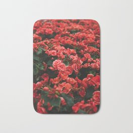 Field Of Lush Red Flowers Vintage Florals Bath Mat