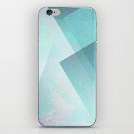 Aqua and Silver White - Digital Geometric Texture iPhone Skin
