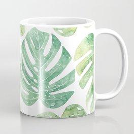 Monstera leaves Jungle leaves Palm leaves Tropical Coffee Mug